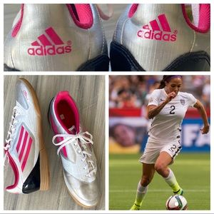 Adidas F-50 indoor pink and silver soccer shoes